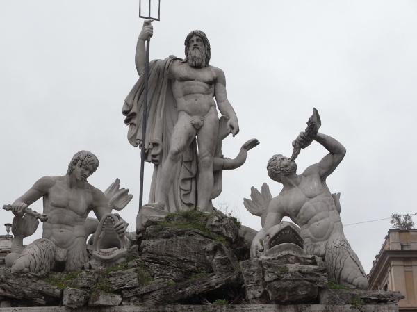 Neptuno y sus acolitos anfibios. Piazza del Popolo. Roma.Foto R.Puig