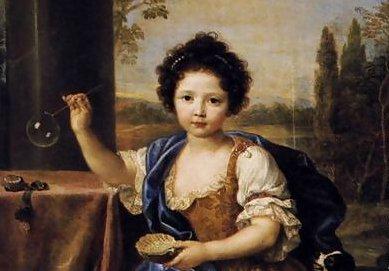 """""""Niña haciendo pompas de jabón"""" de Pierre Mignard (1612-1695)"""