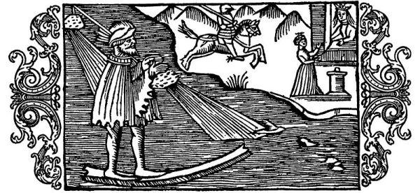 El dios del invierno Ullr en su hueso de surfing.Olaus Magnus, 1555