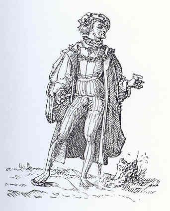 """El prócer ricachón. Dibujo de  Holbein en Elogio de la locura. """"Proceres aulicos gemmis insignes"""""""