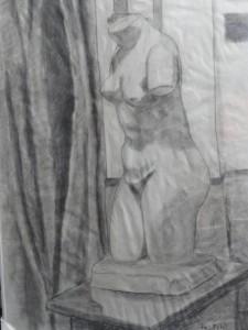 Torso de Venus Capitolina. Vaciado de Altea.¿Copia de Cherchell? Dibujo R.Puig.