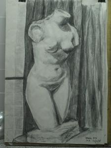 Torso de Venus Capitolina. ¿Versión de Cherchell? Vaciado de Altea. Dibujo R.Puig