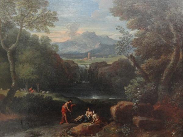Jan Frans van Bloemen. Paisaje con cascada, lago y figuras. Detalle. Museo BBAA Valencia. Foto R.Puig