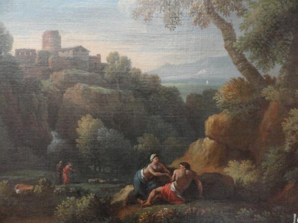 Jan Frans van Bloemen . Paisaje del Lazio con figuras. Detalle. Museo BBAA Valencia.Foto R.Puig