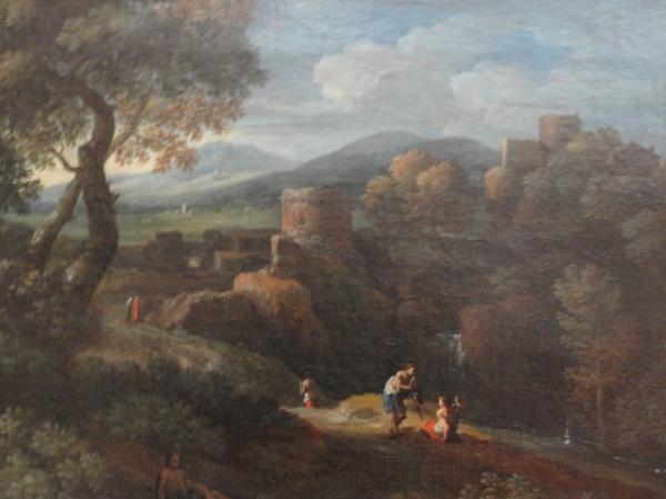Jan Frans van Bloemen. Paisaje del Lazio con torre y figuras. Detalle. Museo BBAA Valencia.Foto R.Puig