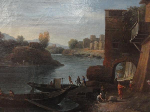 Jan Frans van Bloemen. Vista del Porto della Legna en Roma. Detalle. Museo BBAA Valencia.Foto R.Puig