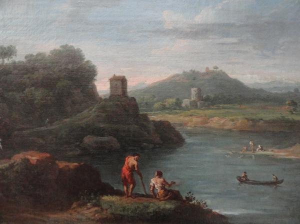Jan Frans van Bloemen. Vista del Tiber en Acqua Acetosa. Detalle. Museo BBAA Valencia.Foto R.Puig