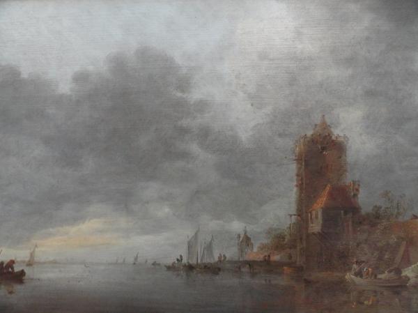 Jan van Goyen. (Leyden, 1596-La Haya 1656) Paisaje fluvial con torre y embarcadero. Museo BBAA Valencia.Foto R.Puig