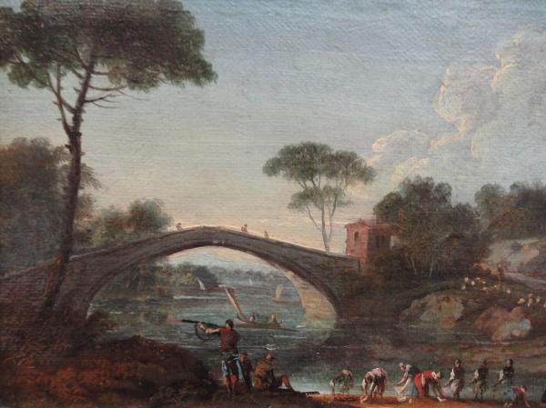 Paolo Anesi. Paisaje fluvial con puente.Detalle. Museo BBAA Valencia.Foto R.Puig