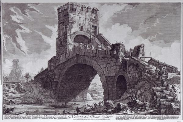 Piranesi.Ponte Salario. Engraving. Wikipedia.