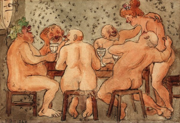 Arosenius. Fiesta báquica (Backusfest) Acuarela. Colección privada. Fuente Bukowskis auction