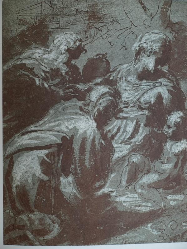 Andrea Schiavone. Adoracion de los Magos. ca 1560.Biblioteca Real de Turin.