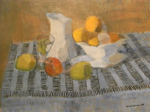 Wilgot Olsson. Bodegón sobre mantel a rayas.Museo de Bellas Artes.Gotemburgo. Foto R.Puig.