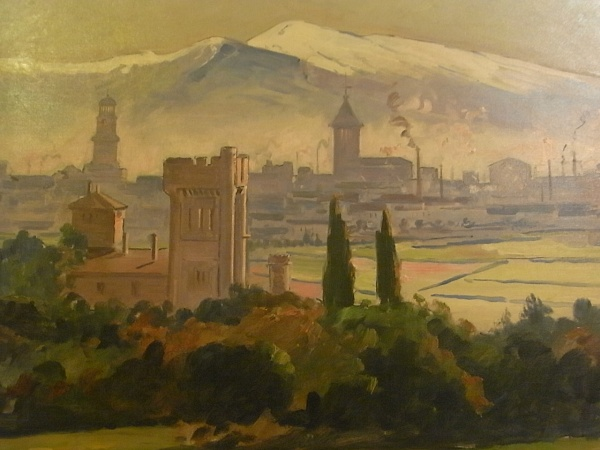Joan Vila Cinca. Panoramica de Sabadell. 1910.Detalle. Museo de Arte. Sabadell. Foto R.Puig