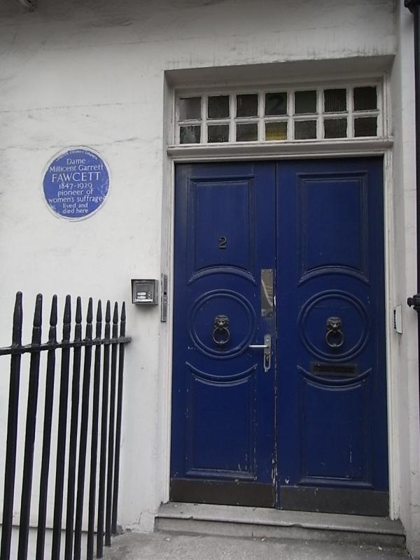 La casa de la lider sufraguista Millicent Garrett Fawcett en Gower Street.Foto R.Puig