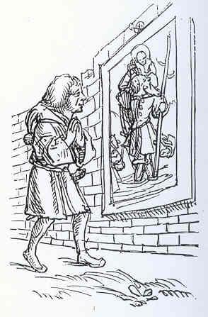 Devoto de San Cristobal. Reproduccion de un dibujo de Hans Holbein para el Elogio de la locura de Erasmo