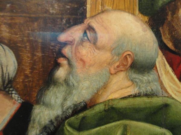 Estereotipo de judio en la Presentación de la Virgen en el templo. Maestro de Calzada.Museo de Bellas Artes de Valencia. Foto R.Puig.