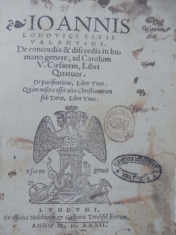Portada de De concordia et discordia in humano genere. Juan Luis Vives. Leyden 1532