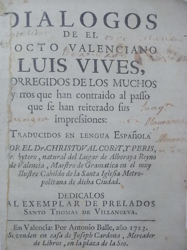Portada de los Dialogos de Vives. Valencia 1731.