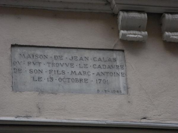 Placa conmemorativa. Casa de Jean Calas. Toulouse. Foto R.Puig.