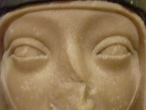 Cabeza de monja. s.XIV. Detalle. Les Augustins. Foto R.Puig.