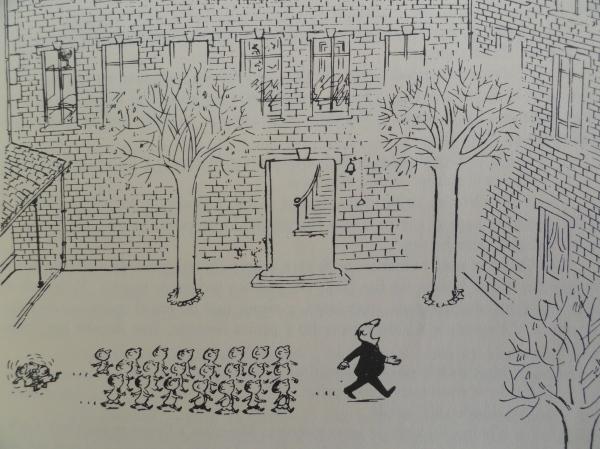 Desfilando tras 'el Caldo'Goscinny y Sempé. Los recreos del pequeño Nicolás. Ed. Alfaguara 1979.