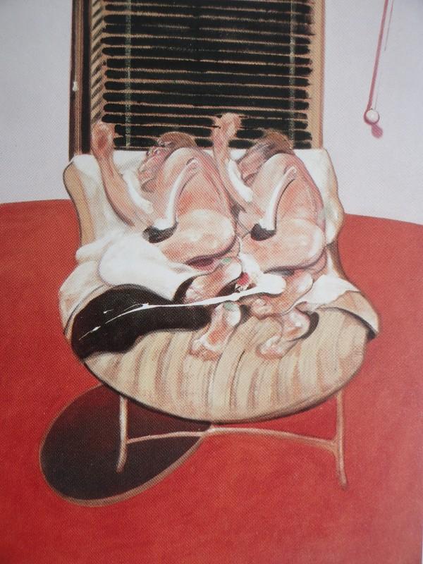 Francis Bacon. Dos figuras en la cama con asistentes. Triptico. 1968.Panel central. Coleccion particular.