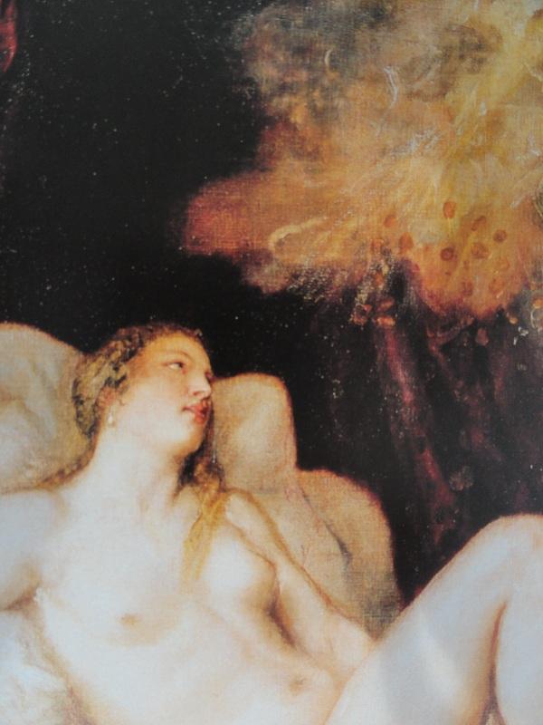 Tiziano. Dánae recibe la lluvia de oro. Detalle. Museo del Prado.