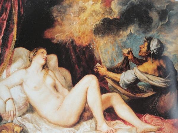 Dánae recibe la lluvia de oro. Tiziano. Museo del Prado.