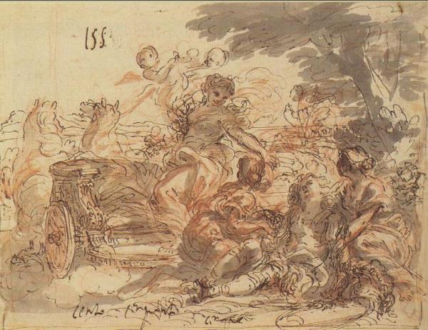 Giovanni Francesco Gaulli. Armida rapta a Rinaldo dormido.