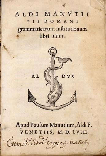 El ancla y el delfín. Emblema de las ediciones aldinas. Fuente Summa Gallicana