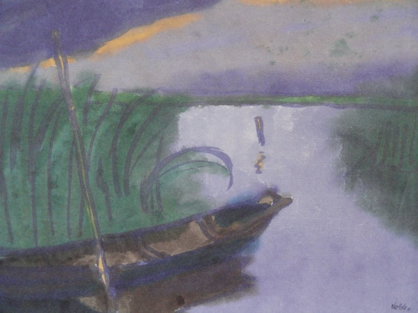 Emil Nolde. Barca en el lago. Acuarela. Nolde Stiftung Seebüll