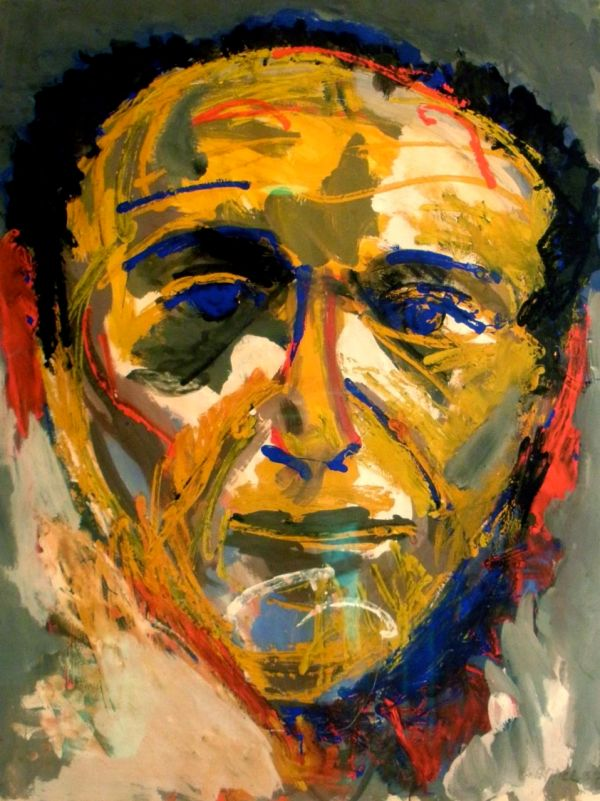 Karel Appel's Portrait of Theo Wolvecamp, in the Collection of Hotel Ambassade . Amsterdam