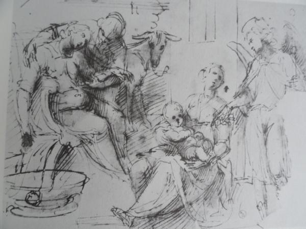Natividad. Moncalvo. Pluma, tinta y aguada. Biblioteca Real de Turin