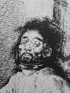 Goya. El agarrotado. Detalle