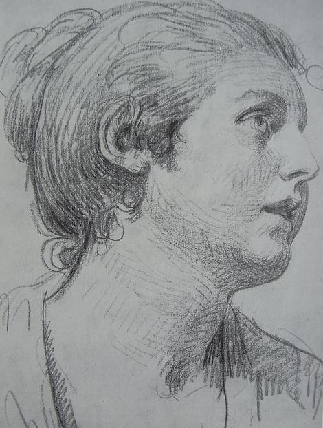 Jean Baptiste Greuze.    Cabeza de mujer joven.
