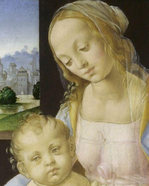Lorenzo di Credi. Madonna e bambino Gesu. Detalle