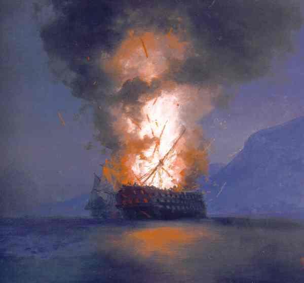 Aïvazovski. Explosion de un navio.Lienzo inacabado.1900. Museo Aïvazoski. Crimea.