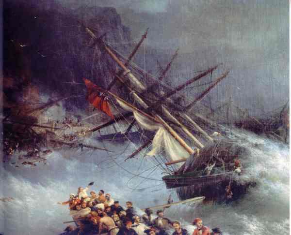 Aïvazovski. Naufragio de un navio en la Guerra de Crimea.1855. Coleccion particular