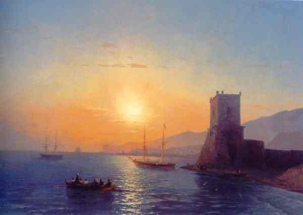 Aïvazovski. Puesta de sol en Feodosia. 1865.Galeria Nacional de Armenia.