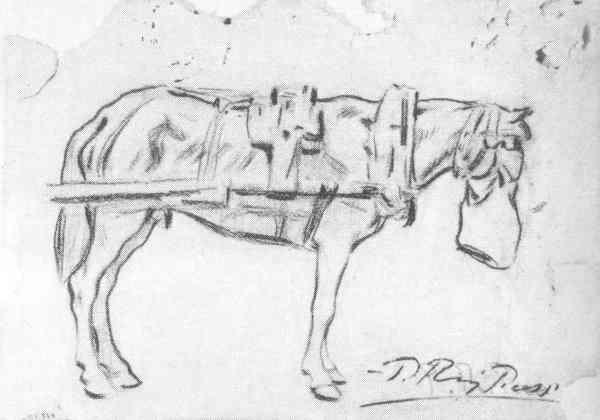 Picasso. Caballo amarrado al carro. Barcelona circa 1898. Museo Picasso de Barcelona.