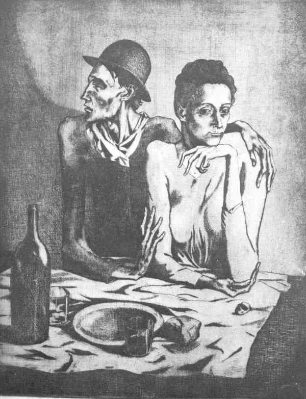 Picasso. La comida frugal. Grabado.Paris 1904. Museo Picasso de Barcelona.
