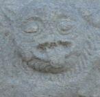 Capitel romanico. Detalle del diablo.  Iglesia de Lau. Gotland. Foto R.Puig