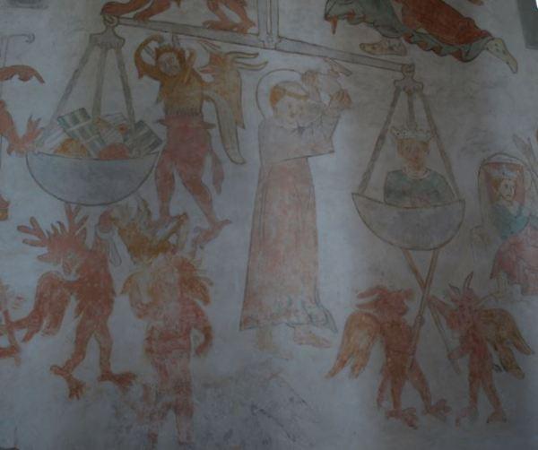 Iglesia de Vamlingbo. Gotland.  Frescos del siglo XIV. Detalle. Foto R.Puig