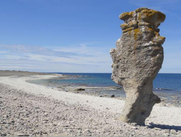En la costa de los raukar de Fårö.. Foto R.Puig