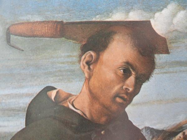 San Pedro Martir. Lorenzo Lotto. Detalle de la Madonna con San Juanito y San Pedro Martir. Capodimonte. Napoles.