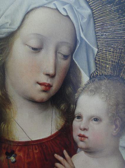 Virgen con el Niño, Maestro de la Leyenda de la Magdalena. s.XV a XVI. Detalle. Coleccion Masaveu