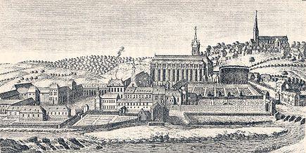 La abadía de Lobbes en el siglo XVIII. Fuente wikipedia