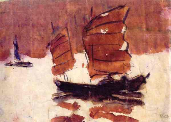 Emil Nolde. Juncos. Acuarela.  China 1913