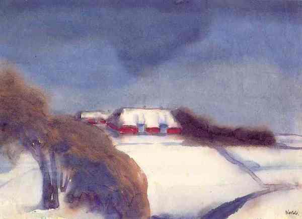 Emil Nolde. La granja de Hültoof en invierno.  Acuarela.